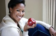 african_american_woman_snack_fruit_lady_apple