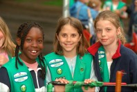 Girl Scouts age 11 at Parktacular Parade. St Louis Park Minnesota USA